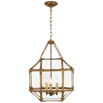 Morris Small Lantern in Gilded Iron with Clear Glass