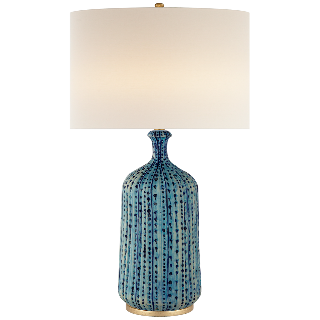 Culloden Table Lamp in Pebbled Aquamarine with Linen Shade