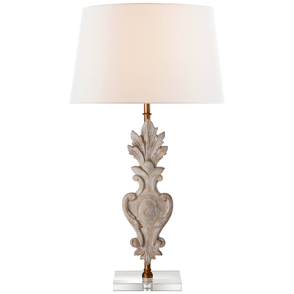Capriva Large Table Lamp in Vintage White and Gild with Linen Shade