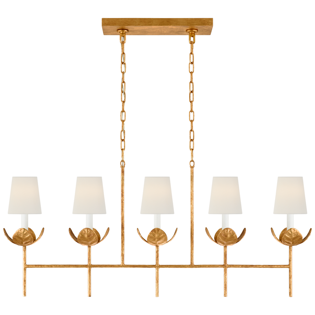 Illana Large Linear Chandelier in Antique Gold Leaf with Linen Shade