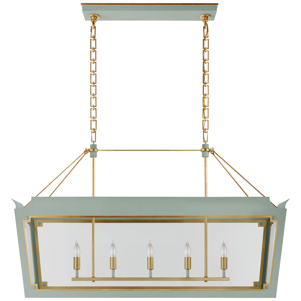 Caddo Medium Linear Lantern in Celadon and Gild with Clear Glass