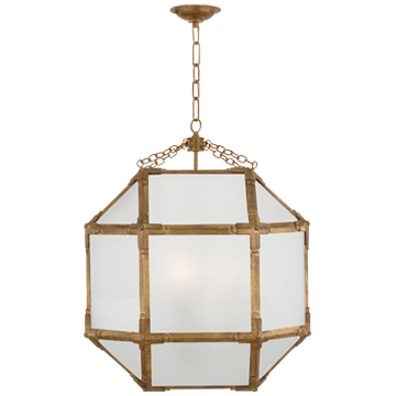 Morris Medium Lantern in Gilded Iron with Frosted Glass