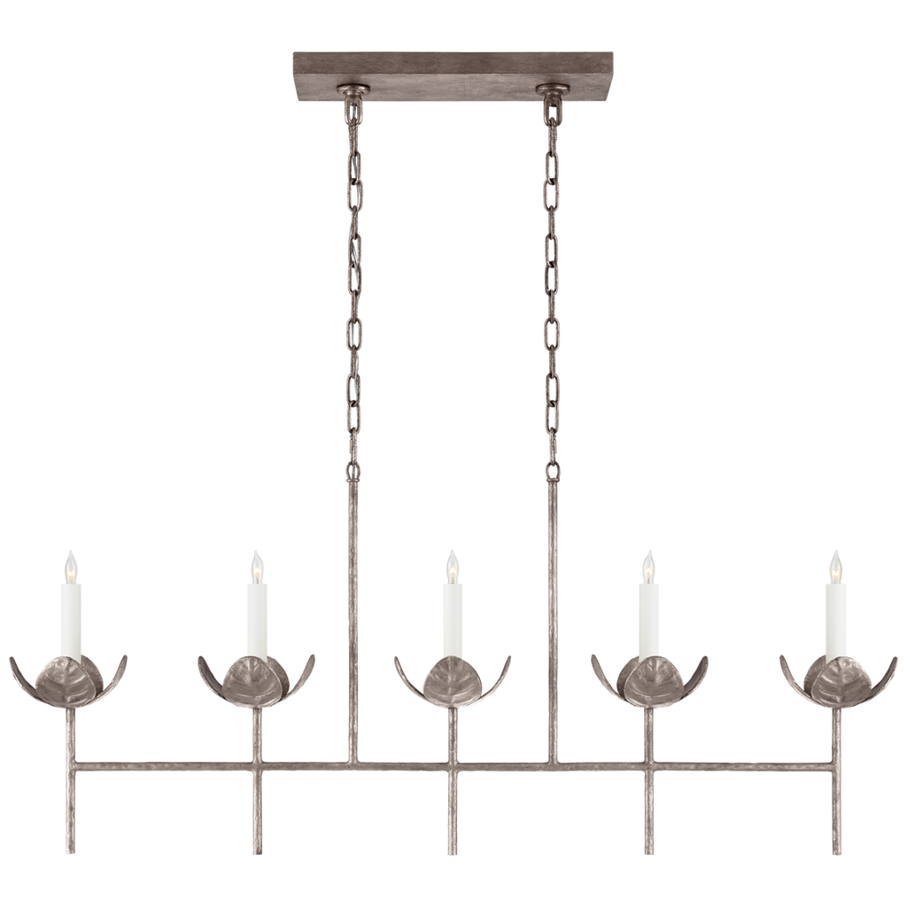 Illana Large Linear Chandelier in Burnished Silver Leaf