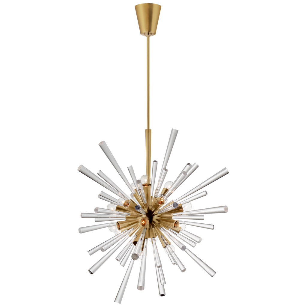 Chiara Large Sputnik Chandelier in Antique-Burnished Brass and Clear Acrylic