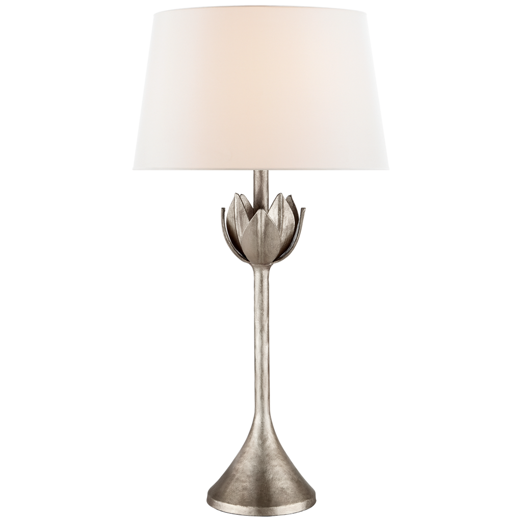 Alberto Large Table Lamp in Burnished Silver Leaf with Linen Shade