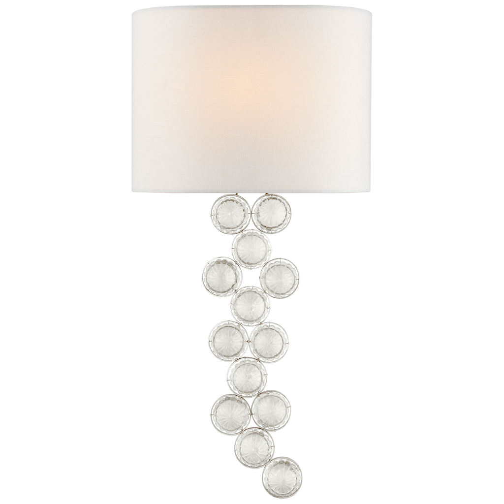 Milazzo Medium Left Sconce in Burnished Silver Leaf and Crystal with Linen Shade