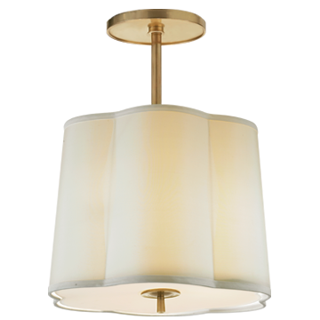 Simple Scallop Hanging Shade in Soft Brass with Silk Shade