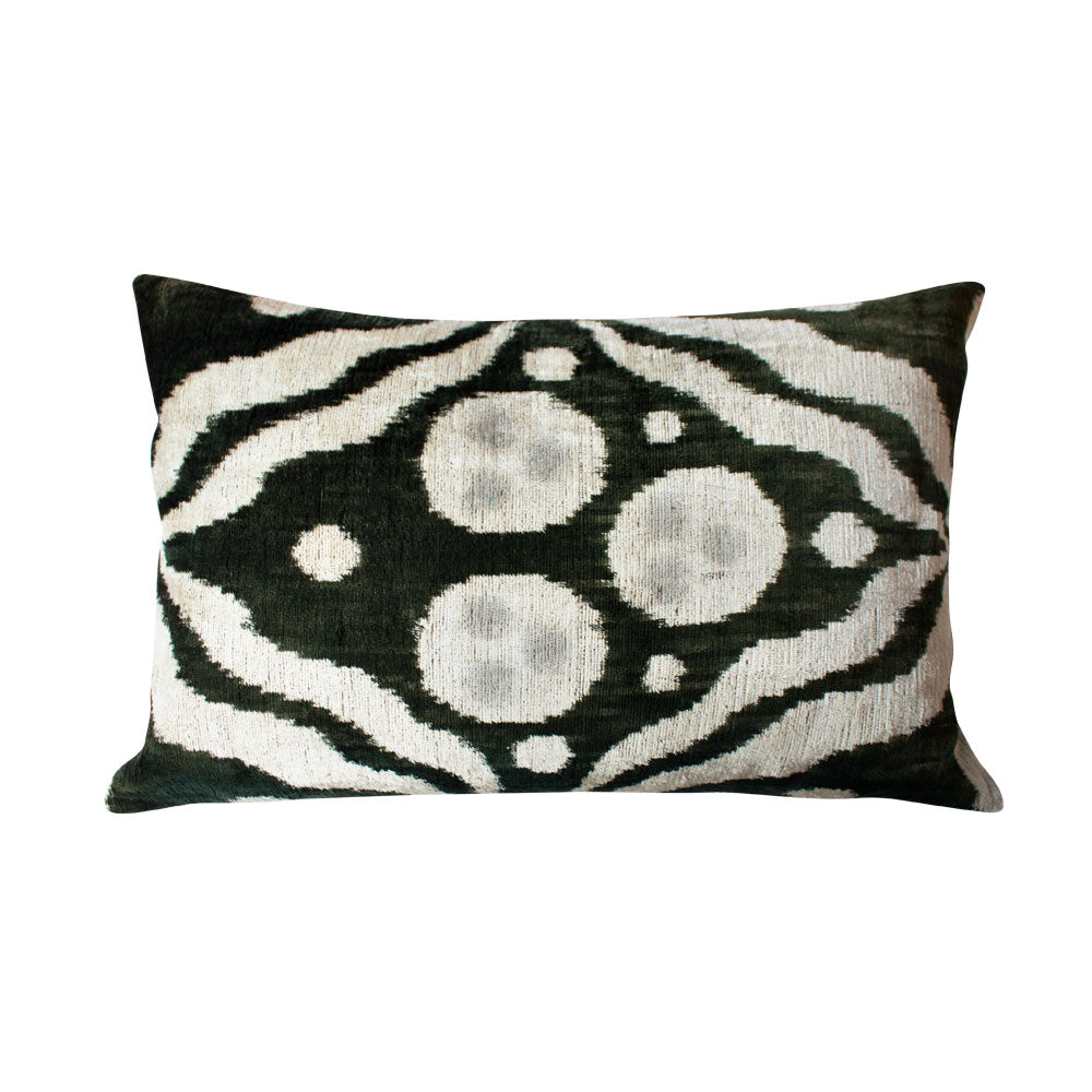 Dotted Ikat Silk Lumbar Pillow