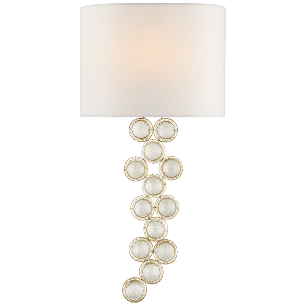 Milazzo Medium Right Sconce in Gild and Crystal with Linen Shade