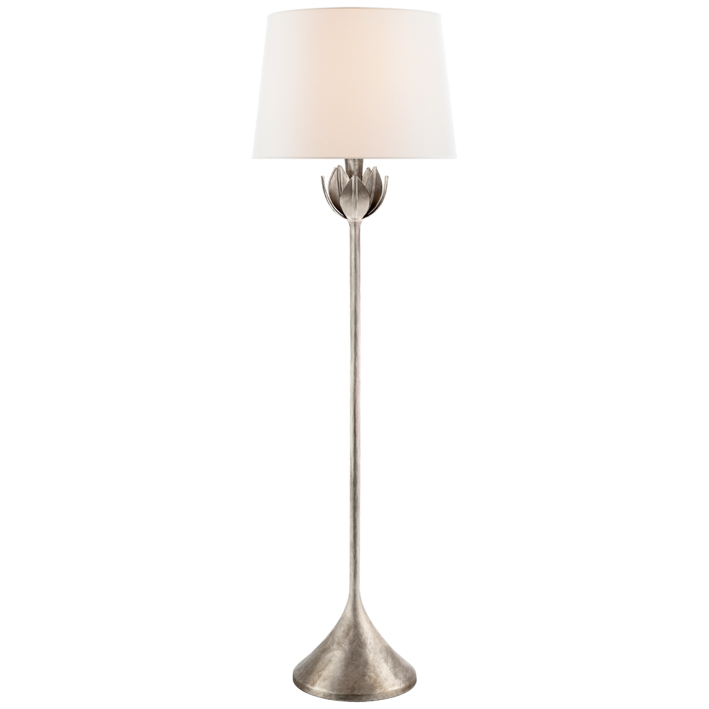 Alberto Large Floor Lamp in Burnished Silver Leaf with Linen Shade