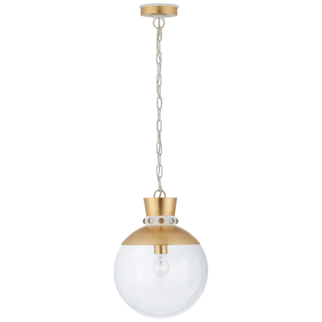 Lucia Medium Pendant in Gild and White with Clear Glass
