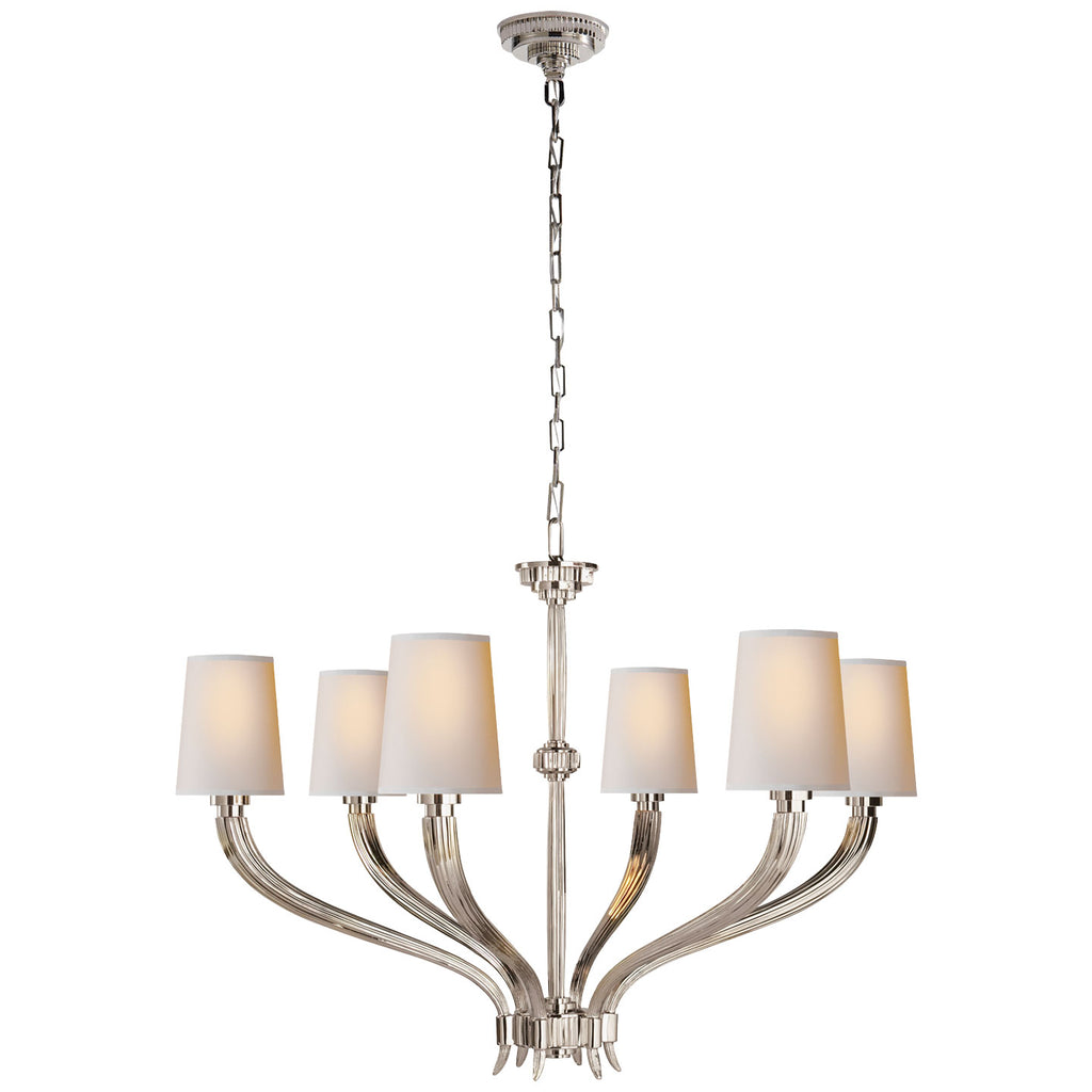 Ruhlmann Large Chandelier in Polished Nickel