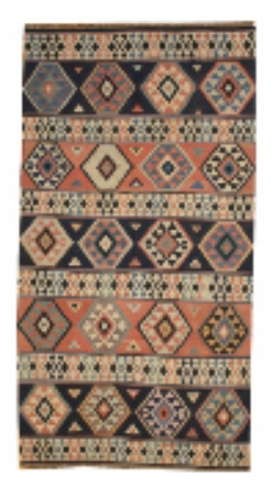 Rust and Black Kilim Rug