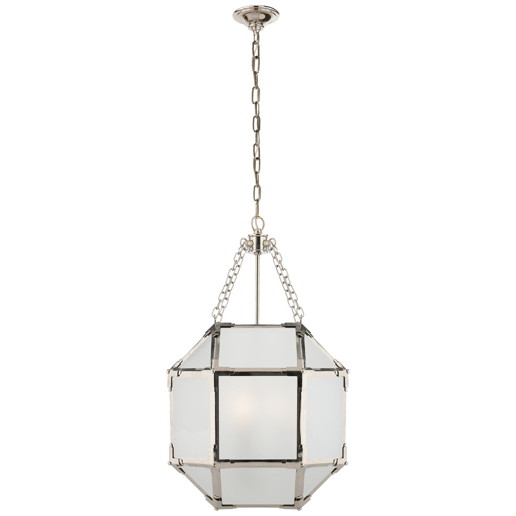 Morris Small Lantern in Polished Nickel with Frosted Glass