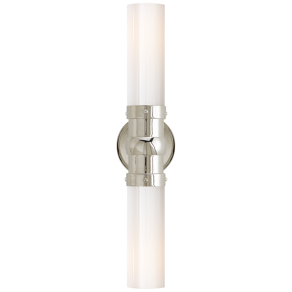 Graydon Double Bath Light in Polished Nickel with White Glass