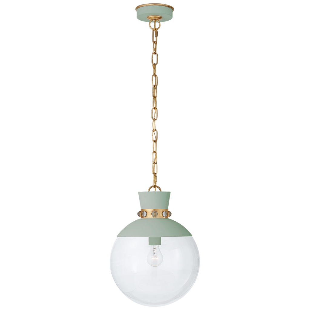 Lucia Medium Pendant in Celedon and Gild with Clear Glass