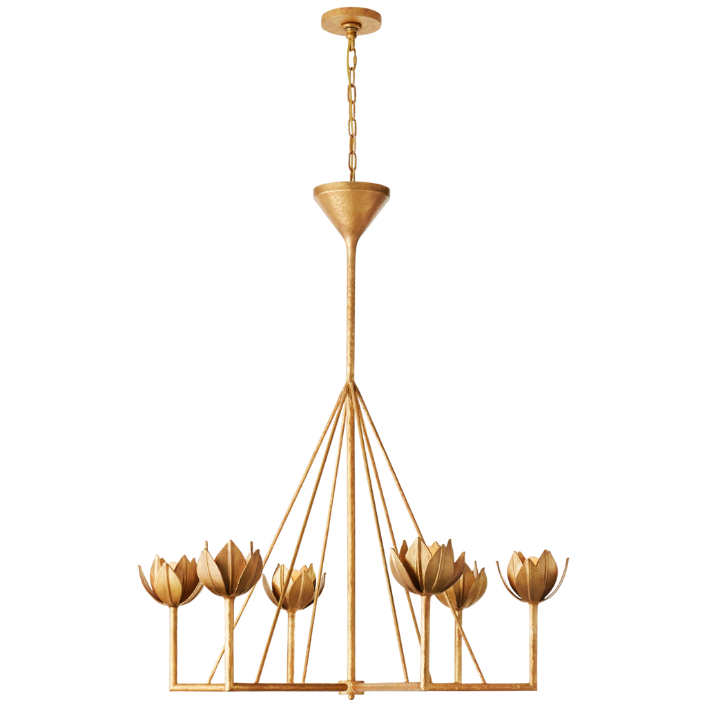 Alberto Large Single Tier Chandelier in Antique Gold Leaf