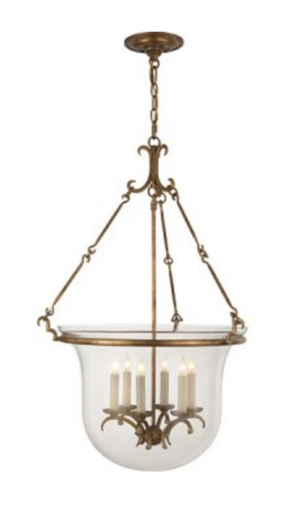 New Country Large Bell Jar Lantern in Gilded Iron