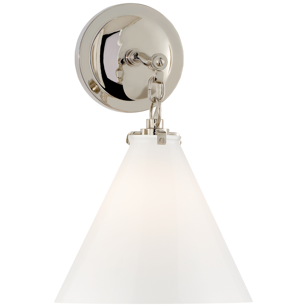 Katie Small Conical Sconce in Polished Nickel with White Glass
