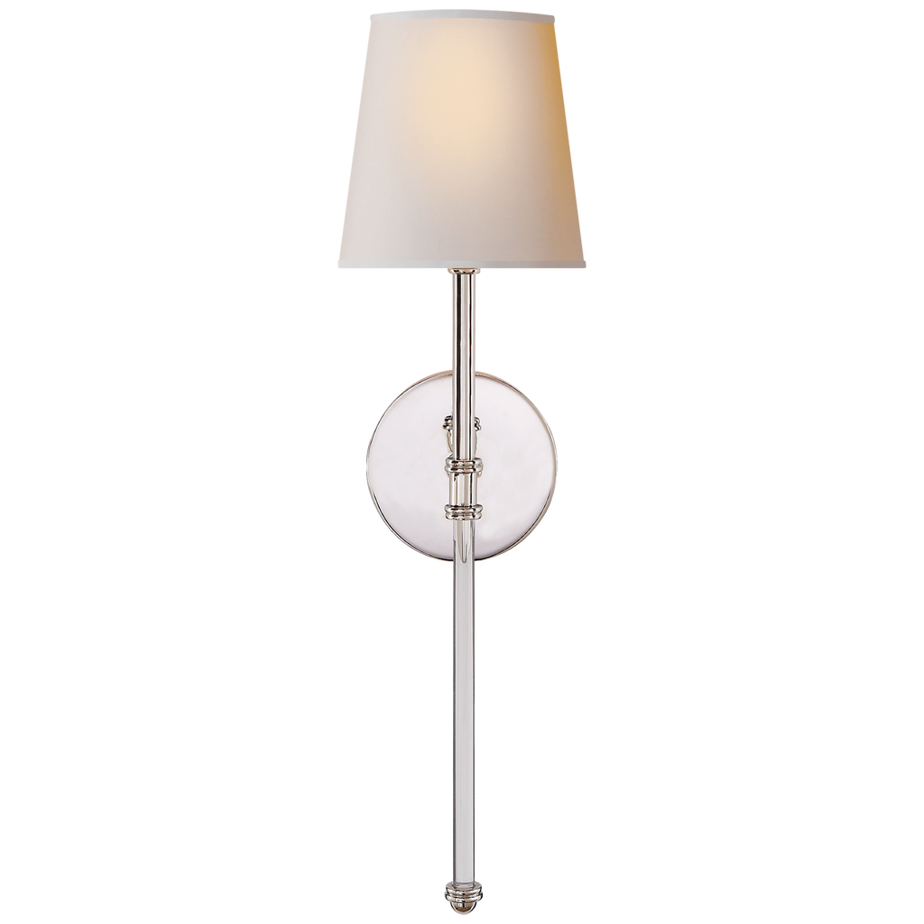 Camille Sconce in Polished Nickel with Natural Paper Shade