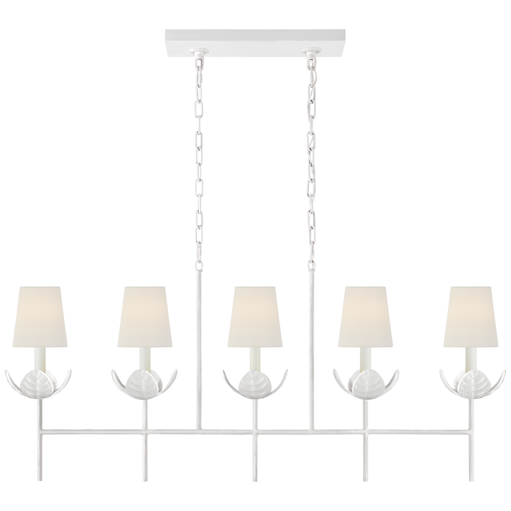 Illana Large Linear Chandelier in Plaster White with Linen Shade