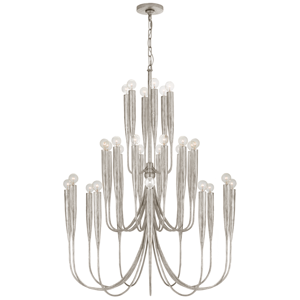 Acadia Large Chandelier in Burnished Silver Leaf