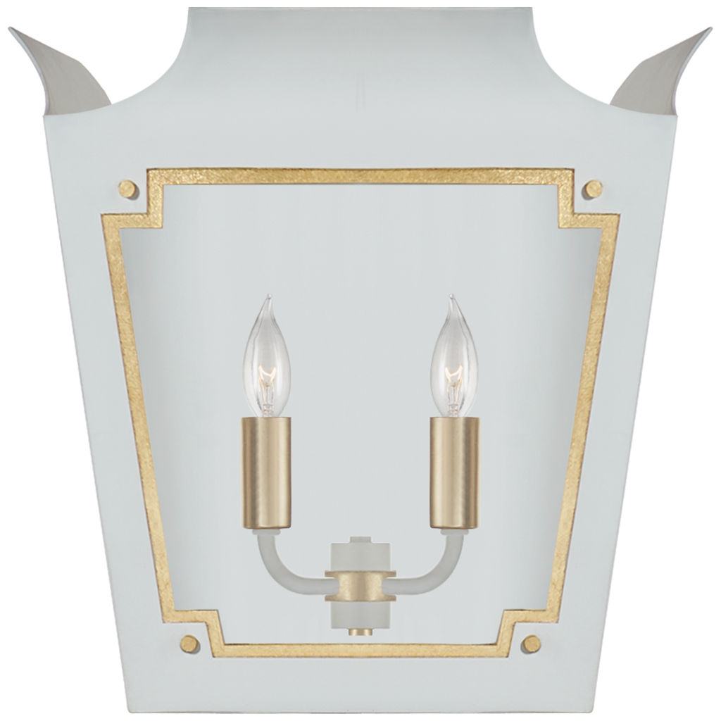 Caddo Lantern Sconce in Soft White and Gild with Clear Glass