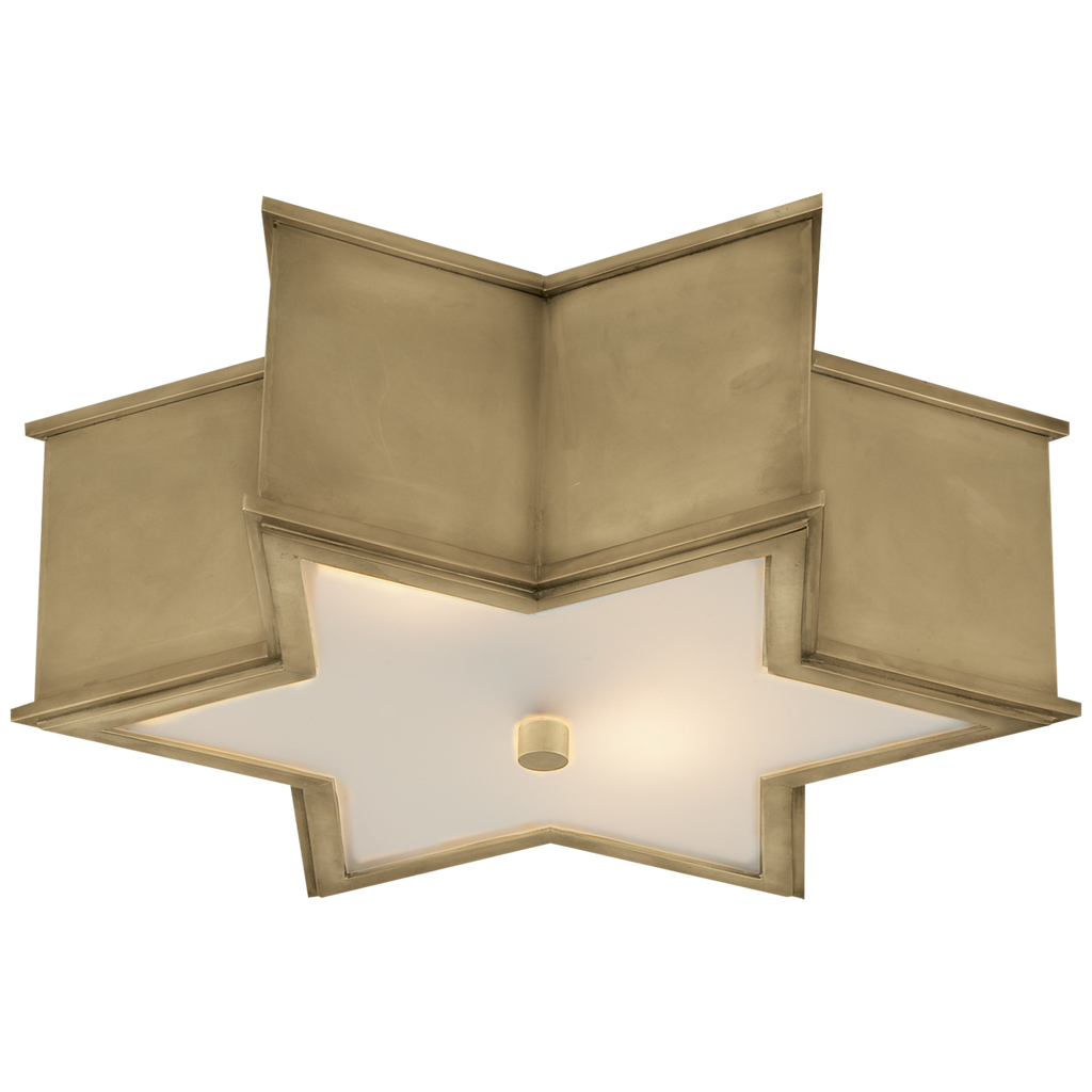 "Sophia 17"" Flush Mount in Natural Brass with Frosted Glass"