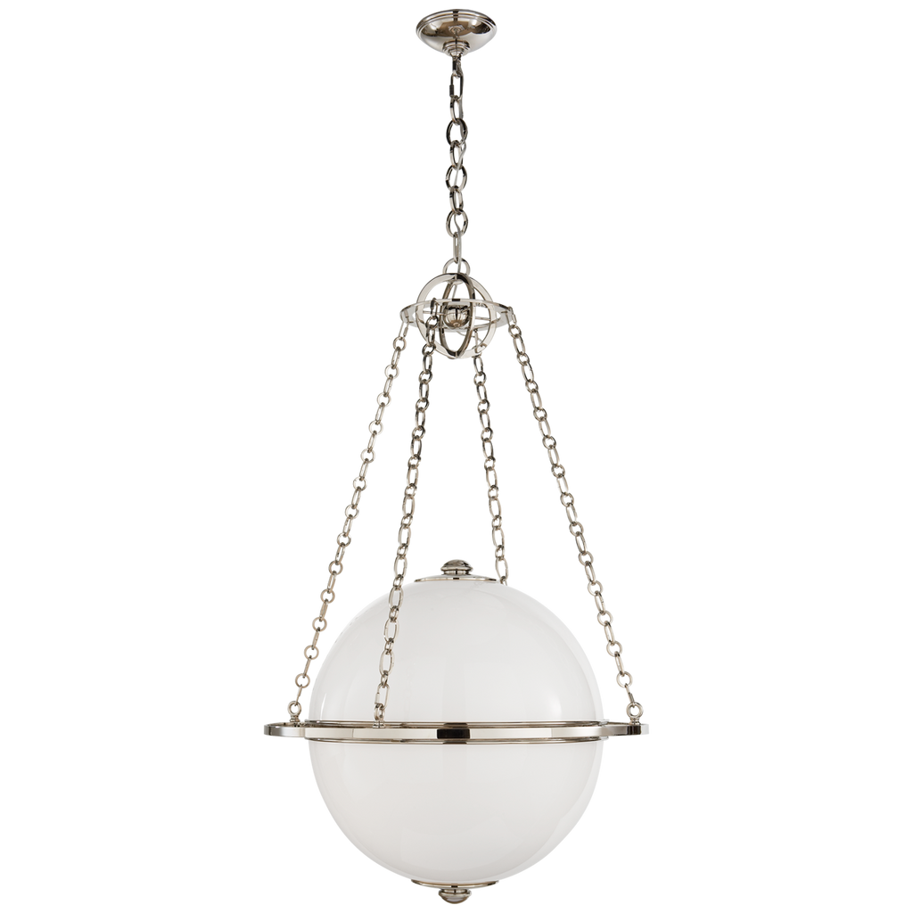 Modern Globe Lantern in Polished Nickel with White Glass