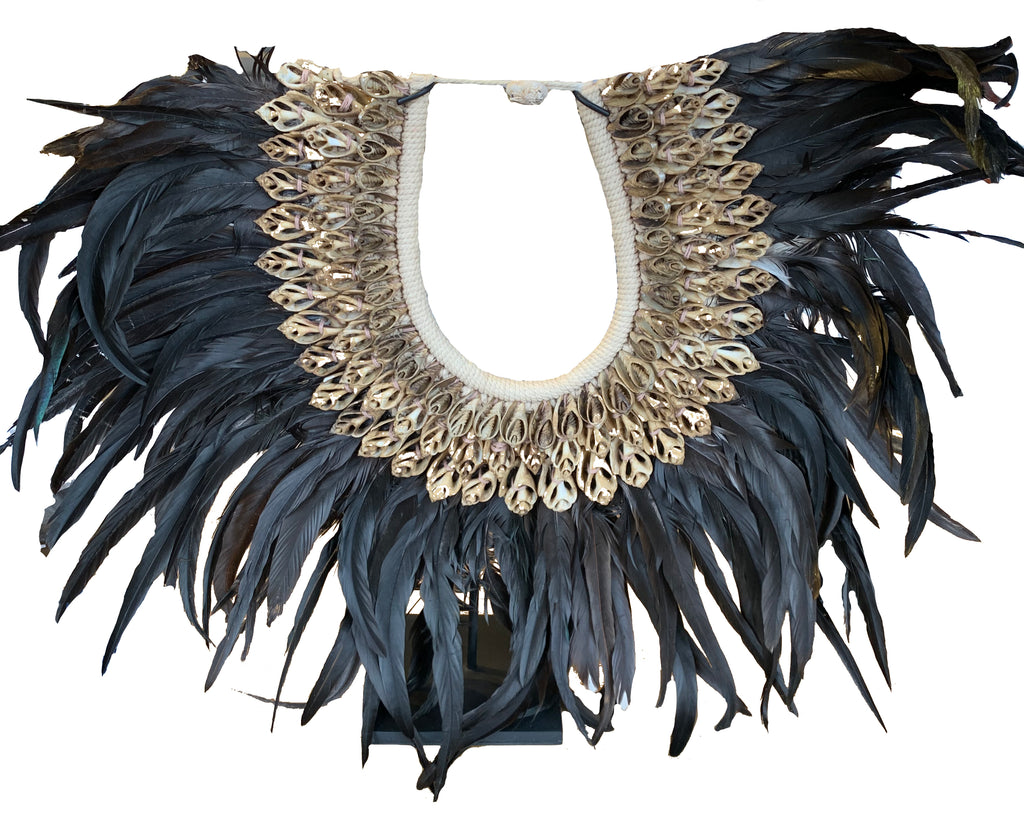 Indonesian Feather and Shell Primary Necklace on Stand