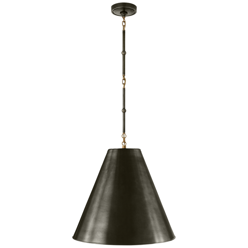 Goodman Medium Hanging Light in Bronze and Hand-Rubbed Antique Brass with Bronze Shade