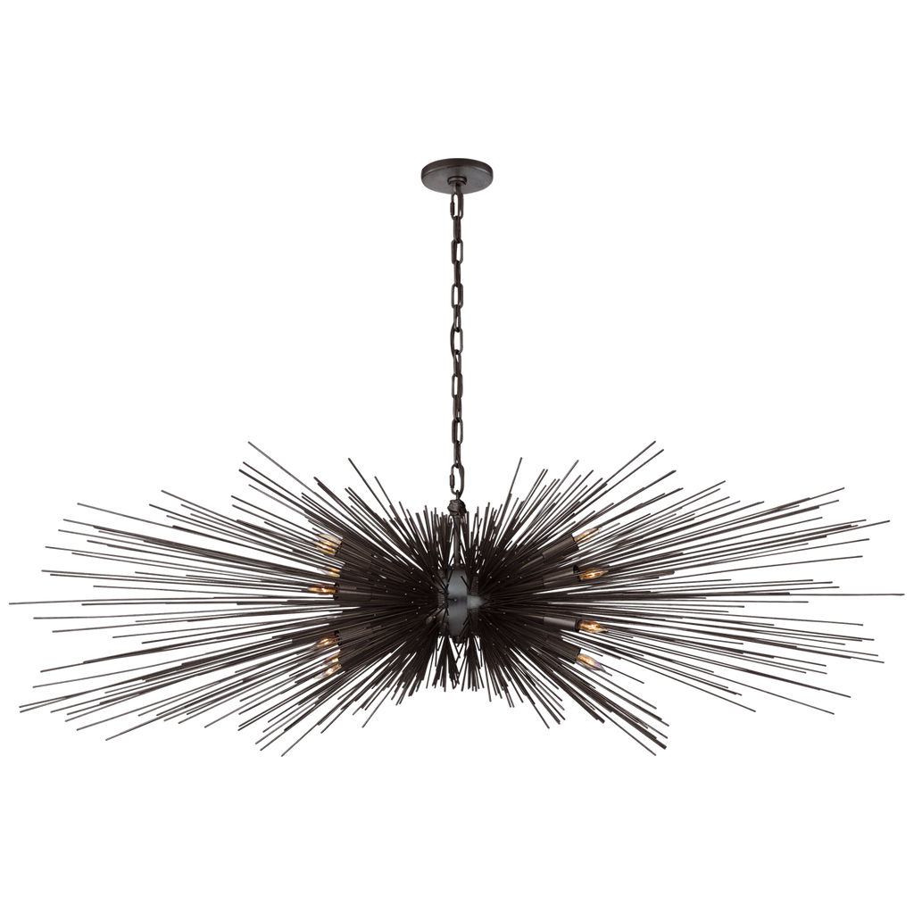 Strada Large Linear Chandelier in Aged Iron