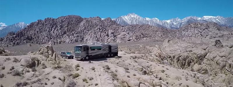 RVs parked in the desert