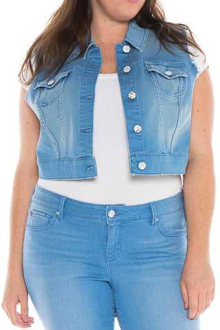 The 70's Blue Sleeveless Crop Jacket - ANNABELLE