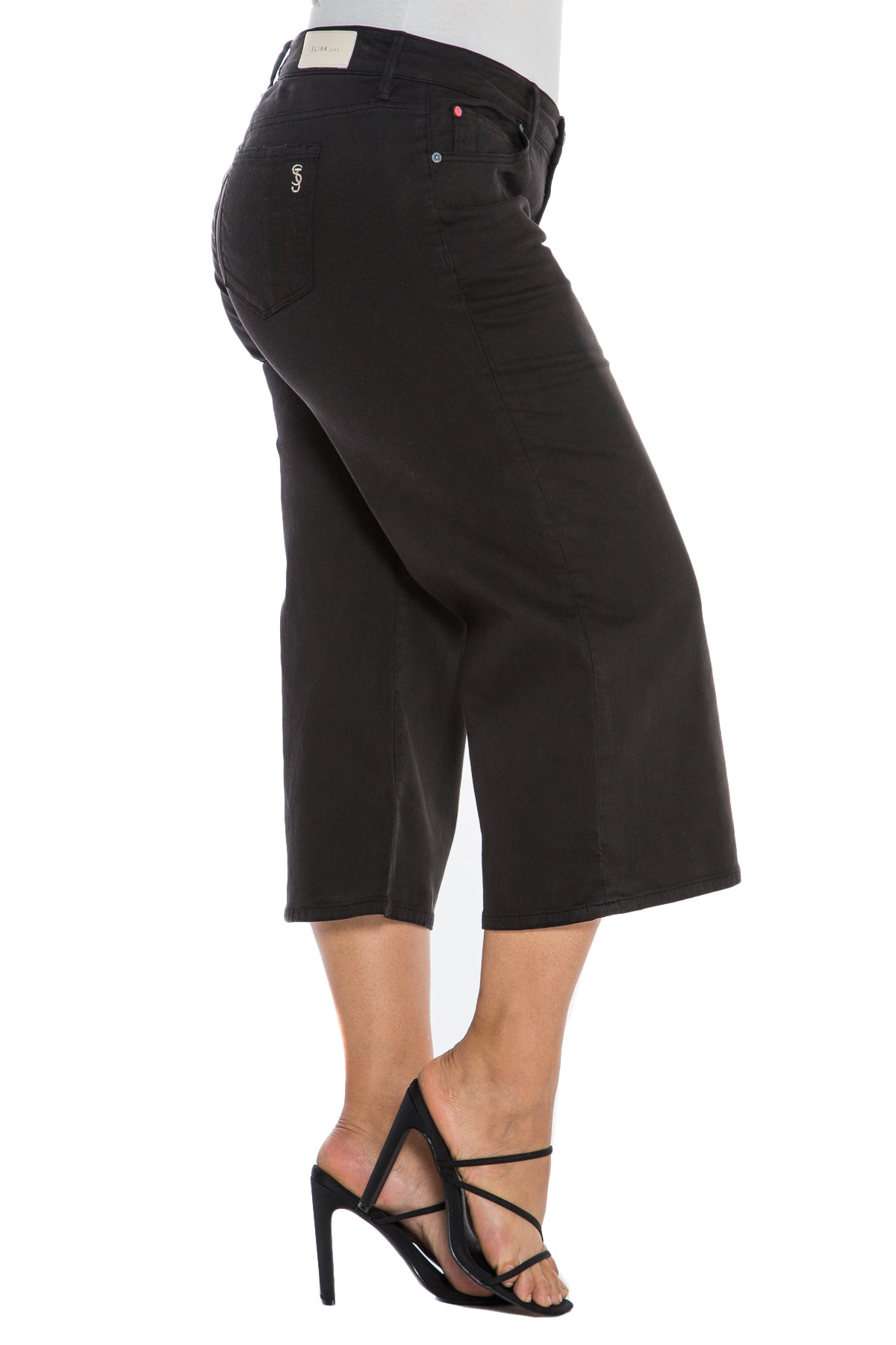 Mid Rise Wide Leg Crop - SOLID BLACK