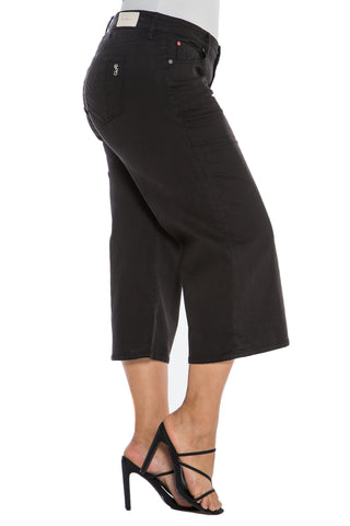 The Mid Rise Wide Leg Crop - SOLID BLACK