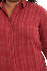 Plaid Work Shirt - Burgundy