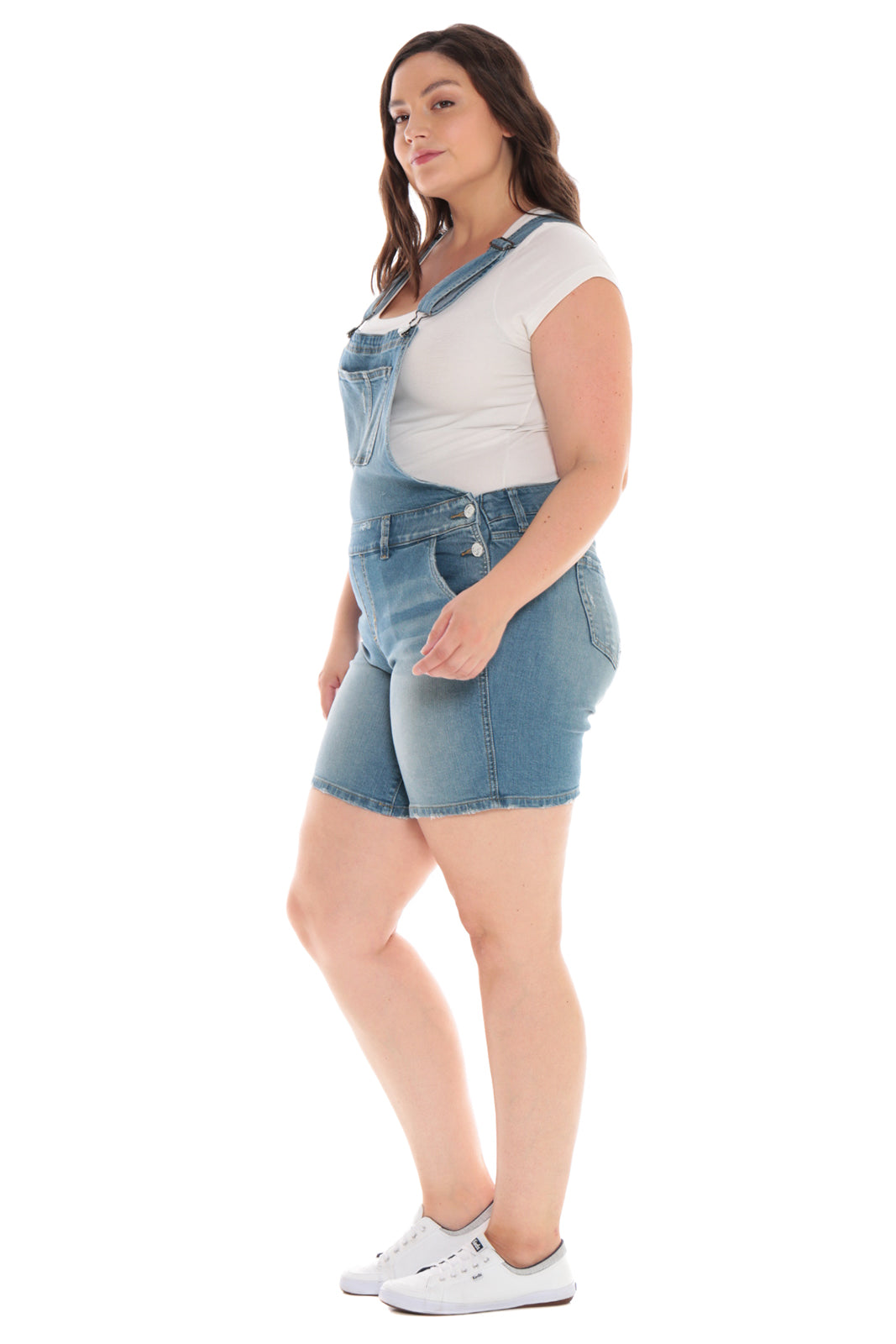 SLINK JEANS SHORT OVERALL IN RENA WASH