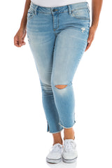 Frayed Hem Crop with Knee Slit  - ASHLEY