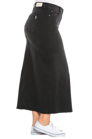 The Long Denim Skirt - BLACK