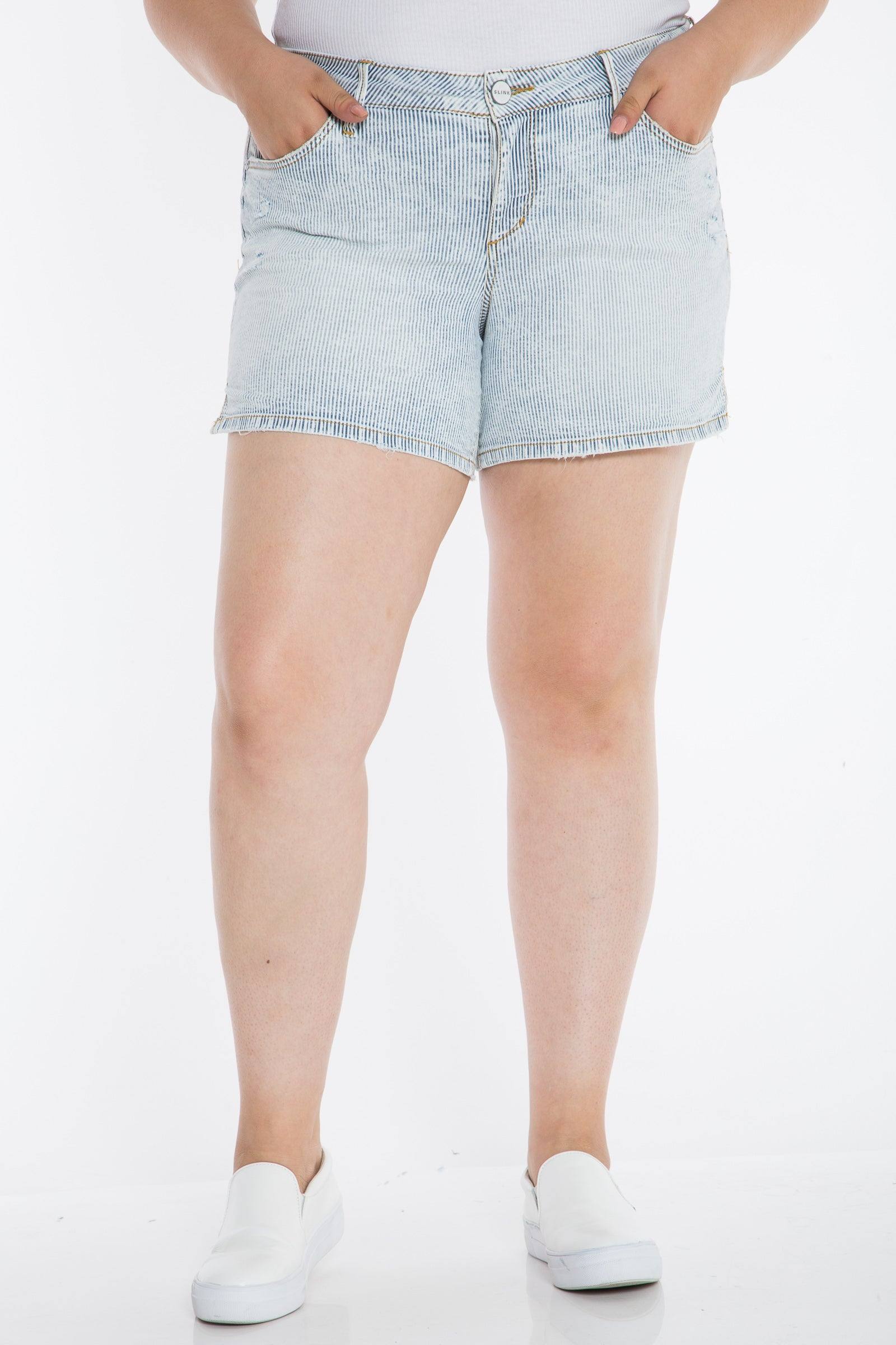 Side Vent Shorts - DENIM STRIPES