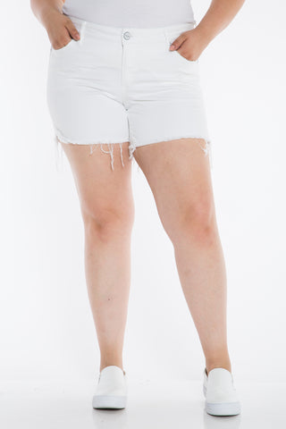 The Frayed Hem Short - WHITE