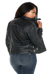 Moto Fitted Jacket - BLACK/BLUE JEAN
