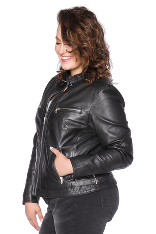 The Moto Fitted Jacket - BLACK