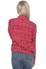 Plaid Western Shirt - RASPBERRY STRIPES
