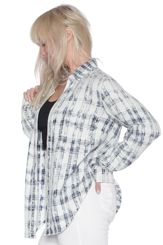 Plaid Western Shirt - WHITE/BLUE