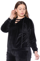 The Velour Lace-Up Hoodie - JET BLACK