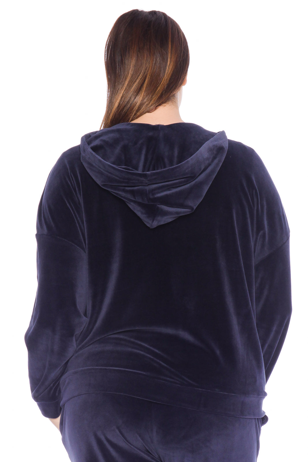 The Velour Lace-Up Hoodie - NAVY