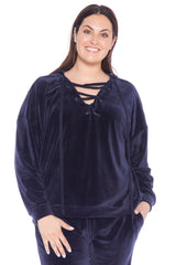 Velour Lace-Up Hoodie - NAVY
