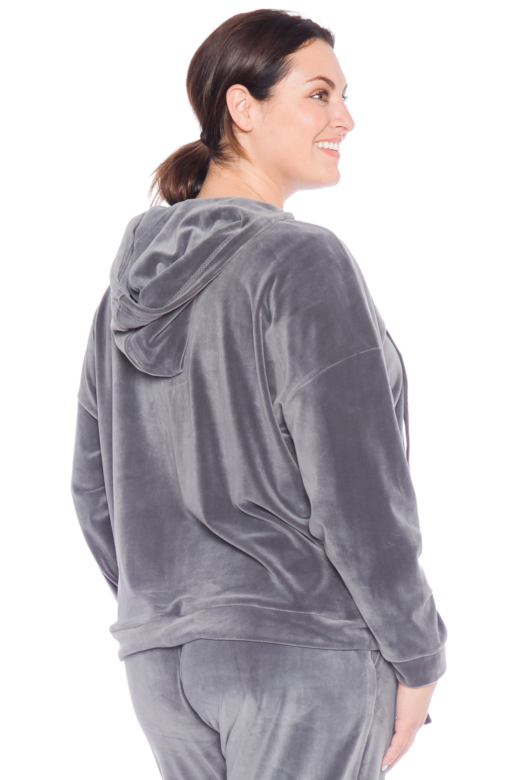 The Velour Lace-Up Hoodie - SLATE
